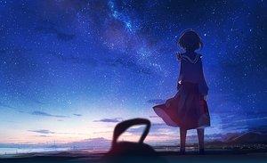 Rating: Safe Score: 81 Tags: clouds kneehighs landscape mifuru night original scenic seifuku short_hair skirt sky stars sunset water User: BattlequeenYume