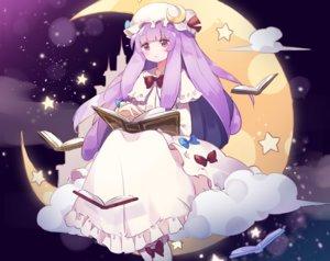 Rating: Safe Score: 38 Tags: book bow clouds cropped dress fujii_shino hat long_hair mage moon patchouli_knowledge purple_eyes purple_hair sky stars touhou User: otaku_emmy