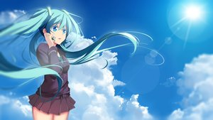Rating: Safe Score: 81 Tags: aqua_eyes aqua_hair clouds hatsune_miku long_hair qingchen_(694757286) skirt sky tie twintails vocaloid User: Flandre93