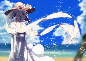 Rating: Safe Score: 114 Tags: aliasing aqua_eyes beach clouds dress fate/grand_order fate_(series) long_hair marie_antoinette_(fate/grand_order) re:rin sky summer_dress twintails water User: luckyluna