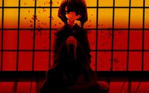 Rating: Safe Score: 34 Tags: black black_hair dark japanese_clothes nanao_naru petals red ribbons short_hair User: Oyashiro-sama