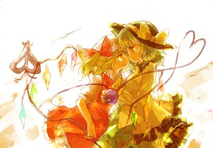 Rating: Safe Score: 34 Tags: 2girls blonde_hair fang flandre_scarlet green_eyes green_hair hat kaguya_k komeiji_koishi red_eyes touhou wings User: PAIIS
