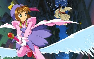 Rating: Safe Score: 10 Tags: brown_hair building card_captor_sakura city clamp gloves green_eyes hat kero kinomoto_sakura scan short_hair sky tagme_(character) wand User: RyuZU