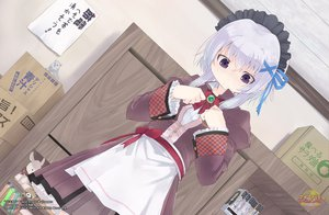 Rating: Safe Score: 46 Tags: book giga gray_hair headdress ibaragi_ai logo purple_eyes ribbons sucre waitress watermark User: Wiresetc