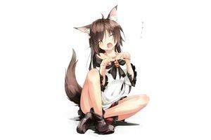 Rating: Safe Score: 456 Tags: animal_ears blush boots brown_hair fang gorilla_(bun0615) imaizumi_kagerou long_hair skirt tail touhou white wolfgirl User: Flandre93