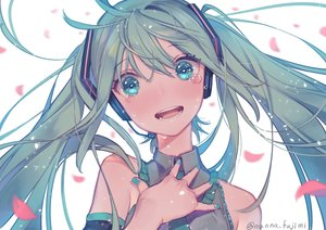 Rating: Safe Score: 55 Tags: 778-go blush green_eyes green_hair hatsune_miku headphones long_hair microphone petals signed tears twintails vocaloid User: RyuZU