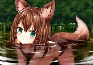 Rating: Safe Score: 198 Tags: animal_ears ass bikini brown_hair flowers forest foxgirl green_eyes loli original short_hair sukemyon swimsuit tail tree water User: BattlequeenYume