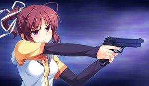 Rating: Safe Score: 119 Tags: brown_hair game_cg gun ponytail racer_(magnet) sinclient weapon yanase_mai User: Wiresetc