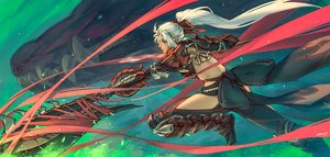 Rating: Safe Score: 40 Tags: armor bow dragon long_hair monster_hunter monster_hunter:_world odogaron_(armor) red_eyes scar signed white_hair zhaoyuan_pan User: sadodere-chan