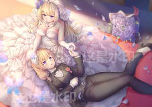Rating: Safe Score: 65 Tags: 2girls anthropomorphism blonde_hair blush bow breasts cleavage dress elbow_gloves flowers gloves lexington long_hair necklace purple_eyes ray_(pixiv9514208) rodney rose shoujo_ai suit wedding wedding_attire zhanjian_shaonu User: BattlequeenYume