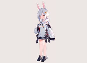 Rating: Safe Score: 23 Tags: animal_ears blush bow bunny_ears bunnygirl dress flat_chest gray hoodie meito_(maze) original red_eyes short_hair white_hair User: otaku_emmy