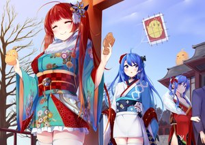 Rating: Safe Score: 63 Tags: anthropomorphism aqua_eyes azur_lane blue_hair food helena_(azur_lane) honolulu_(azur_lane) irohasu japanese_clothes kimono long_hair manjuu_(azur_lane) purple_eyes red_hair shrine sky st._louis_(azur_lane) taiyaki thighhighs torii tree twintails zettai_ryouiki User: RyuZU