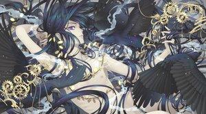 Rating: Safe Score: 34 Tags: all_male animal bird black_hair long_hair male minami_(minami373916) nude original purple_eyes User: RyuZU