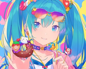 Rating: Safe Score: 43 Tags: aqua_eyes aqua_hair candy choker close cropped food hatsune_miku heiwa_(murasiho) lollipop long_hair sunglasses twintails vocaloid waifu2x User: otaku_emmy