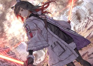 Rating: Safe Score: 78 Tags: animal_ears arknights brown_eyes brown_hair building city gloves necklace ruins sword texas_(arknights) weapon yuuki_higumo User: BattlequeenYume
