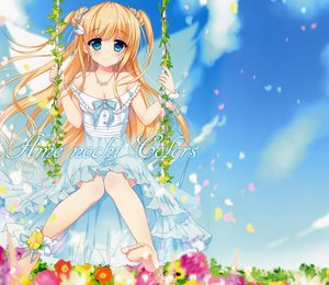 Rating: Safe Score: 92 Tags: ameto_yuki barefoot blonde_hair breasts cleavage dress flowers green_eyes long_hair necklace original petals scan summer_dress User: Wiresetc