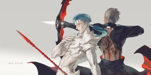 Rating: Safe Score: 21 Tags: all_male aqua_hair archer bodysuit bow_(weapon) fate_(series) fate/stay_night gradient gray_hair lancer long_hair male ponytail short_hair skintight spear tagme_(artist) tattoo weapon User: otaku_emmy