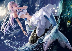 Rating: Safe Score: 96 Tags: animal blue_eyes clouds fish long_hair macha0331 mermaid moon navel night original purple_hair skirt sky tiara water User: BattlequeenYume
