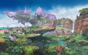 Rating: Safe Score: 68 Tags: building final_fantasy final_fantasy_xiv forest landscape nobody scenic square_enix tree water waterfall watermark User: SciFi