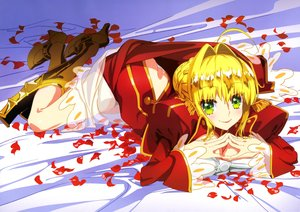 Rating: Safe Score: 16 Tags: ass blonde_hair boots braids breasts dress fate/extra fate_(series) green_eyes petals saber saber_extra scan short_hair takiyama_masaaki User: RyuZU