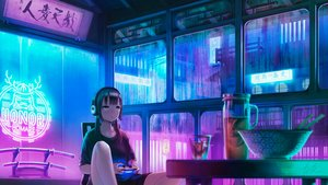 Rating: Safe Score: 38 Tags: black_hair brown_eyes building city drink food game_console headphones katana long_hair night original polychromatic signed sword twintails weapon yokaichi_(0012541109) User: otaku_emmy