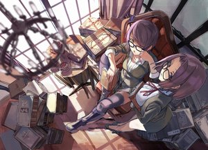 Rating: Safe Score: 234 Tags: 2girls anthropomorphism book boots breasts chain cleavage drink fujita_(condor) glasses kantai_collection purple_eyes purple_hair short_hair tatsuta_(kancolle) tenryuu_(kancolle) thighhighs translation_request wink yellow_eyes User: Flandre93