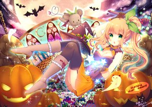 Rating: Safe Score: 51 Tags: animal ass azu_torako bat blonde_hair blush boots bow breasts candy chain clouds dress food fruit garter_belt gloves green_eyes halloween hat jpeg_artifacts long_hair moon original pumpkin ribbons signed skirt sky stars twintails witch_hat User: RyuZU