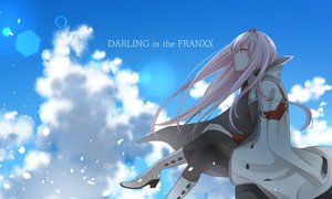 Rating: Safe Score: 53 Tags: boots clouds darling_in_the_franxx horns long_hair pantyhose petals pink_hair sky tagme_(artist) zero_two User: RyuZU