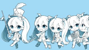 Rating: Safe Score: 48 Tags: animal aqua_eyes blue boots bow chibi flute frog hat hatsune_miku instrument long_hair marchen_noir monochrome thighhighs twintails vocaloid User: RyuZU