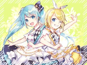 Rating: Safe Score: 18 Tags: 2girls aqua_eyes aqua_hair blonde_hair blue_eyes dress hatsune_miku kagamine_rin long_hair short_hair twintails vocaloid yoishi_(fuchi39) User: Maboroshi