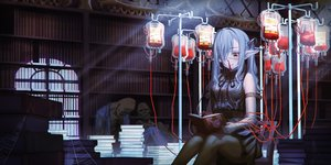 Rating: Safe Score: 73 Tags: bandage blood blue_hair book eyepatch gothic hironii_(hirofactory) long_hair nosebleed original pantyhose pointed_ears red_eyes twintails User: Dreista