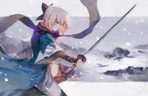 Rating: Safe Score: 6 Tags: blonde_hair fate/grand_order fate_(series) hong japanese_clothes orange_eyes ribbons sakura_saber scarf snow sword thighhighs weapon User: BattlequeenYume