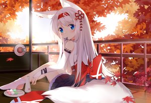 Rating: Safe Score: 69 Tags: autumn blue_eyes blush drink food foxgirl fufumi japanese_clothes leaves long_hair original sake white_hair User: BattlequeenYume