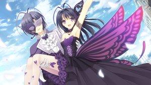 Rating: Safe Score: 129 Tags: breasts butterfly cleavage clouds dress game_cg long_hair male mask navel_(company) ookura_resona ookura_yuusei otome_riron_to_sono_shuuhen:_ecole_de_paris pantyhose purple_eyes sky suzuhira_hiro tsuki_ni_yorisou_otome_no_sahou wings User: Wiresetc