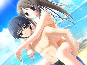 Rating: Safe Score: 81 Tags: beach blue_eyes brown_hair cube game_cg kantoku male miyazawa_midori natsu_no_ame ponytail swimsuit User: Wiresetc