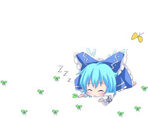 Rating: Safe Score: 48 Tags: blue_eyes blue_hair bow butterfly chibi cirno fairy sleeping touhou white User: DmitryEV