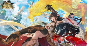Rating: Safe Score: 42 Tags: aliasing black_hair building city clouds dragon fajyobore323 headdress logo long_hair orange_eyes rin_(seven_knights) seven_knights sky thighhighs User: RyuZU