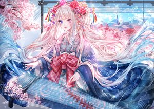 Rating: Safe Score: 31 Tags: bicolored_eyes blonde_hair cherry_blossoms flowers headdress instrument japanese_clothes kimono kity1211_tetsu long_hair music original User: BattlequeenYume