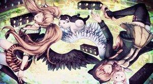 Rating: Safe Score: 4 Tags: 2girls blue_eyes dangan-ronpa dangan-ronpa_2 doll enoshima_junko kneehighs minami_chiaki monokuma pink_eyes pink_hair tagme_(artist) thighhighs twintails wings User: mattiasc02