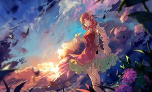 Rating: Safe Score: 110 Tags: clouds dress flowers grass haraguroi_you ibara_kasen orange_hair red_eyes scenic sunset touhou User: RyuZU