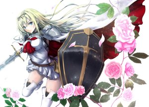 Rating: Safe Score: 156 Tags: armor blonde_hair blue_eyes boots cape cornelia_(sennen_sensou_aigis) flowers ihara_natsume leaves long_hair ribbons rose sennen_sensou_aigis sword thighhighs weapon white User: Flandre93