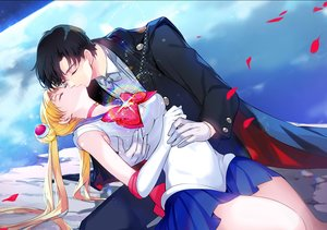 Rating: Safe Score: 22 Tags: black_hair blonde_hair cape chiba_mamoru choker elbow_gloves gin_(oyoyo) gloves kiss long_hair male planet sailor_moon sailor_moon_(character) school_uniform short_hair skirt sleeping tsukino_usagi twintails User: BattlequeenYume