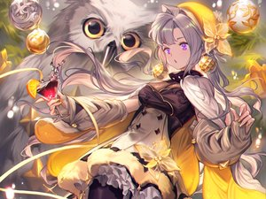 Rating: Safe Score: 70 Tags: animal bird breasts christmas cleavage cropped dress drink food fruit gray_hair hat lee_hyeseung long_hair orange_(fruit) original owl pantyhose purple_eyes User: otaku_emmy