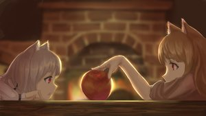 Rating: Safe Score: 83 Tags: 2girls animal_ears apple brown_hair fire food fruit gray_hair horo long_hair myuri_(spice_and_wolf) ookami_to_koushinryou red_eyes short_hair wolfgirl youzi_(small_shabao) User: SciFi