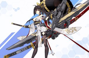 Rating: Safe Score: 83 Tags: akagi_(blue_vows) anthropomorphism black_hair blue_vows breasts cleavage criin_(659503) gloves japanese_clothes katana long_hair mechagirl pantyhose ponytail skirt sword umbrella weapon yellow_eyes User: RyuZU