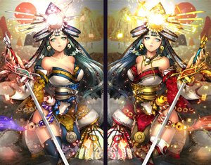 Rating: Safe Score: 62 Tags: armor blue_eyes blue_hair breasts cleavage fan green_eyes green_hair headdress japanese_clothes long_hair necklace original sword tagme_(artist) thighhighs weapon User: BattlequeenYume