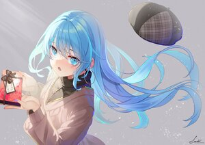 Rating: Safe Score: 42 Tags: aqua_eyes aqua_hair blush close gray long_hair necklace original saraki signed valentine User: BattlequeenYume