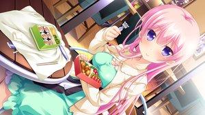 Rating: Safe Score: 101 Tags: breasts cleavage food game_cg hhg_megami_no_shuuen kirimiya_sally long_hair nanase_meruchi pink_hair purple_eyes windmill_(company) User: C4R10Z123GT