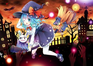 Rating: Safe Score: 68 Tags: animal aqua_eyes aqua_hair blue_eyes blue_hair blush bow building cross date_a_live dress eyepatch gyaza halloween hat pantyhose ribbons silhouette skirt sunset tree wings wink witch yoshino_(date_a_live) yoshinon_(date_a_live) User: Maboroshi