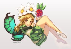 Rating: Safe Score: 38 Tags: blonde_hair braids brown_eyes fairy flowers food fruit headdress loli magma_chipmunk mercedes odin_sphere pointed_ears signed twintails wings User: FormX